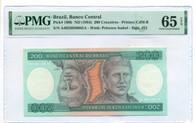 Brazil 1984 200 Cruzeiros Bank Note Gem Unc 65 EPQ PMG