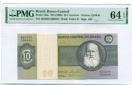 Brazil 1980 10 Cruzeiros Bank Note Ch Unc 64 EPQ PMG