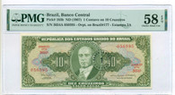Brazil 1967 1 Centavo on 10 Cruzeiros Bank Note Ch AU58 EPQ PMG