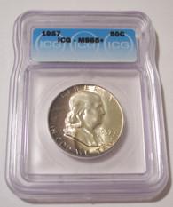 1957 Franklin Half Dollar Unc MS65+ ICG