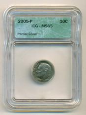 2005 P Roosevelt Dime Partial Collar Error MS65 ICG