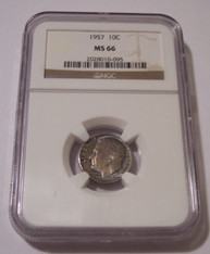 1957 Roosevelt Dime MS66 NGC Toned