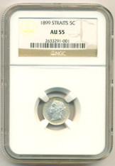 Straits Settlements Silver 1899 5 Cents AU55 NGC