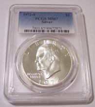 1972 S Eisenhower Silver Dollar MS67 PCGS