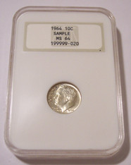 1964 Roosevelt Dime MS64 NGC OH Type 4 Sample Holder