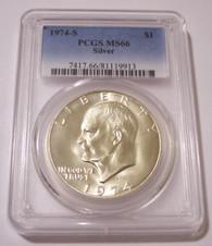 1974 S Eisenhower Silver Dollar MS66 PCGS
