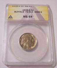1938 D Buffalo Nickel FS-515 OMM-5 MS64 ANACS