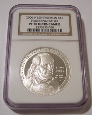 2006 P Ben Franklin Found Father Commemorative Silver Dollar Proof PF70 UC NGC