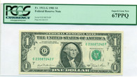1981 A $1 FRB Chicago Note Fr 1911-G Superb Gem New 67 PPQ PCGS Currency