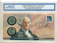2007 P & D Washington Presidential Dollar Set MS65 FDI with Cover - Mt Vernon Cancelled Stamp
