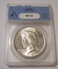 1923 Peace Silver Dollar VAM-1AU (now VAM-1AB1) R4 MS62 ANACS
