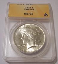 1922 Peace Silver Dollar VAM-2U1 R5 MS63 ANACS