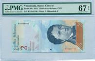 Venezuela 2012 2 Bolivares Bank Note Superb Gem Unc 67 EPQ PMG