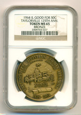 1964 Taylorville IL 125th Anniversary Good For 50 Cents Token MS65 NGC