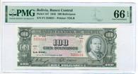 Bolivia 1945 100 Bolivianos Bank Note Gem Unc 66 EPQ PMG