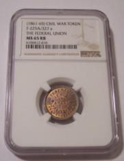Civil War Patriotic Token 1861-65 The Federal Union F-225A/327a MS65 RB NGC