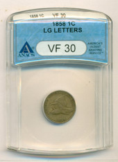 1858 Flying Eagle Cent Large Letters VF30 ANACS