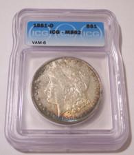 1881 O Morgan Silver VAM-6 R3 MS62 ICG