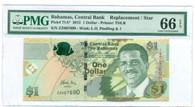 Bahamas 2015 1 Dollar Replacement / Star Bank Note Gem Unc 65 EPQ PMG