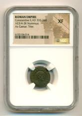 Roman Empire Constantine II AD 337-340 AE 3/4 BI Nummus As Caesar Trier Mint XF NGC