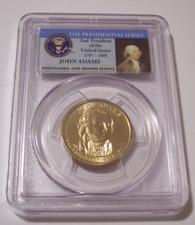 2007 P John Adams Presidential Dollar Error Doubled Edge Lettering - Overlapped MS64 PCGS Portrait Label