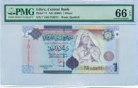 Libya 2009 1 Dinar Bank Note Gem Unc 66 EPQ PMG