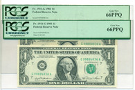1981 Two (2) FRB Chicago $1 Notes Fr 1911-G Similar Serials Gem New 66 PPQ PCGS Currency