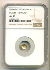 India - Dutch - Tuticorin (1700-94) Gold Fanam AU53 NGC