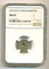 Tunisia 1938 5 Cents MS67 NGC
