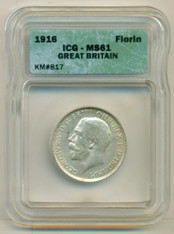 Great Britain Silver 1916 Florin MS61 ICG