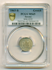 Germany States Saxony Johann 1865 B Groschen MS65 PCGS