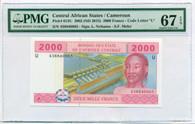 Central African States - Cameroun 2015 2000 Francs - Code Letter U Superb Gem Unc 67 EPQ PMG