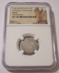 Poland - Lithuania (1501-06) Alexander Jagiellon Silver 1/2 Groschen AU53 NGC