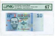 Swaziland 2014 10 Emalangeni Bank Note Superb Gem Unc 67 EPQ PMG