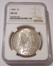 1885 Morgan Silver Dollar MS62 NGC rv Toning