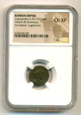 Roman Empire Constantine II AD 337-340 AE 3/4 BI Nummus As Caesar Lugdunum Ch XF NGC