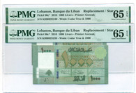 Lebanon 2016 Two (2) 1000 Livers Star / Replacement Notes Consecutive Serials Gem Unc 65 EPQ PMG