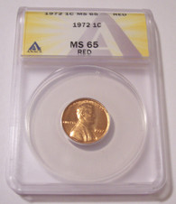 1972 Lincoln Memorial Cent MS65 RED ANACS