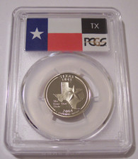 2004 S Clad Texas State Quarter Proof PR70 DCAM PCGS Flag Label