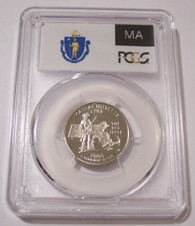 2000 S Clad Massachusetts State Quarter Proof PR70 DCAM PCGS Flag Label