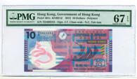 Hong Kong 2012 10 Dollars Bank Note Gem Unc 67 EPQ PMG