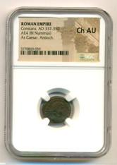 Roman Empire Constans AD 337-350 AE4 BI Nummus As Caesar Antioch Mint Ch AU NGC