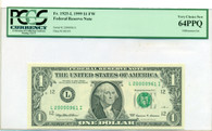 1999 FRB San Francisco $1 Note Very Choice New 64 PPQ PCGS Currency
