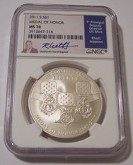 2011 S Medal of Honor Commemorative Silver Dollar MS70 NGC Jeppson Signed