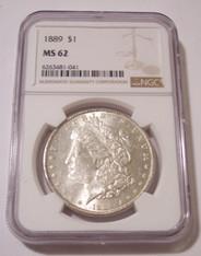 1889 Morgan Silver Dollar MS62 NGC Light Patina