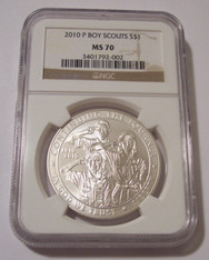 2010 P Boy Scouts Commemorative Silver Dollar MS70 NGC