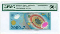 "Romania 1999 2000 Lei Bank Note ""Commemorative"" Gem Unc 66 EPQ PMG"
