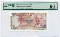 Malawi 1992 1 Kwacha Bank Note Gem Unc 66 EPQ PMG