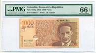 Colombia 2014 1000 Pesos Bank Note Gem Unc 66 EPQ PMG