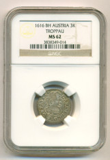 Austria Troppau Karl I 1616 BH Silver 3 Krajcar MS62 NGC Top Pop
